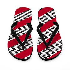 Houndstooth & Crimson Striped Flip Flops