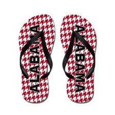Crimson Houndstooth Alabama Flip Flops