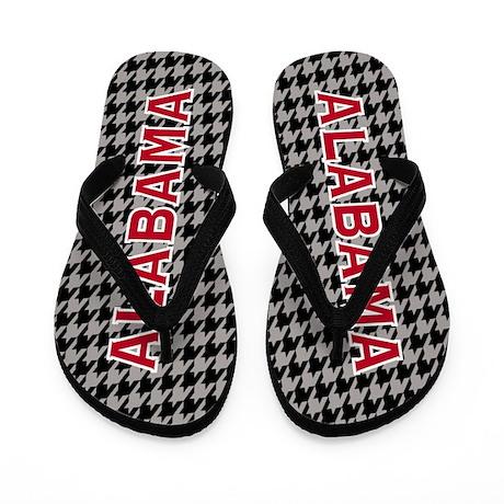 Black & Gray Alabama Houndstooth Flip Flops