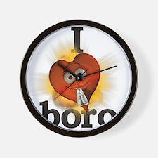 I heart / love boro Wall Clock