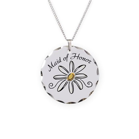 Daisy Maid of Honor Necklace Circle Charm