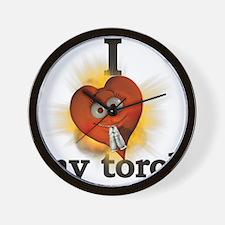 I heart / love my torch Wall Clock