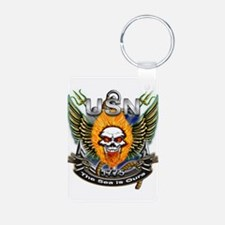 US Navy Flaming Skull The Sea Keychains