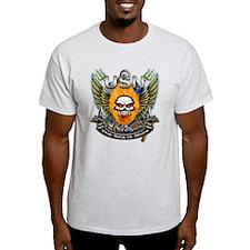 US Navy Flaming Skull The Sea T-Shirt