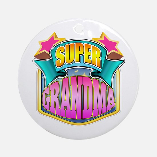 Pink Super Grandma Ornament (Round)
