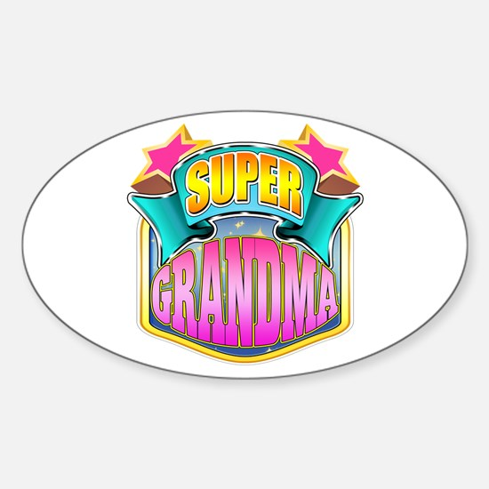 Pink Super Grandma Sticker (Oval)