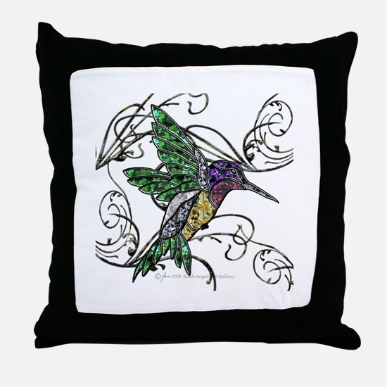 Gem Hummingbird Throw Pillow