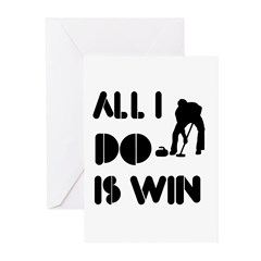 All I do is Win Curling Greeting Cards (Pk of 10)