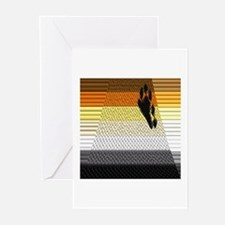BEAR PRIDE ABSTRACT FLAG_TILED&LINED Greeting Card