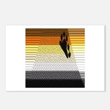 BEAR PRIDE ABSTRACT FLAG_TILED&LINED Postcards (Pa