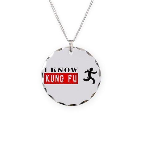 I KNOW KUNG FU chuck ninja m Necklace Circle Charm