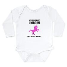 Invisible Pink Unicorn Long Sleeve Infant Bodysuit