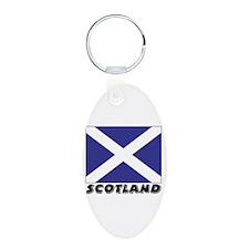 Scotland Flag (World) Aluminum Oval Keychain