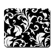 BLACK AND WHITE DAMASK Mousepad