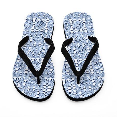 Blue Crochet Lace Flip Flops