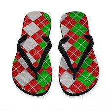 Knit Christmas Argyle Flip Flops