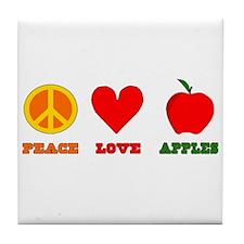 Peace Love Apples Tile Coaster