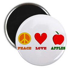 "Peace Love Apples 2.25"" Magnet (10 pack)"