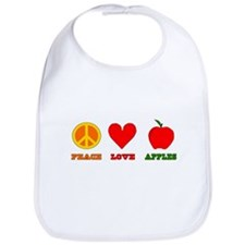 Peace Love Apples Bib