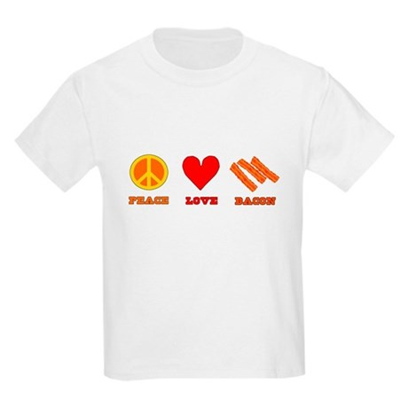 Peace Love Bacon Kids Light T-Shirt