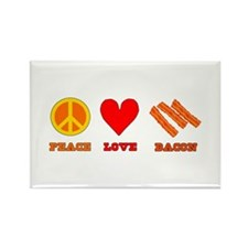 Peace Love Bacon Rectangle Magnet (100 pack)