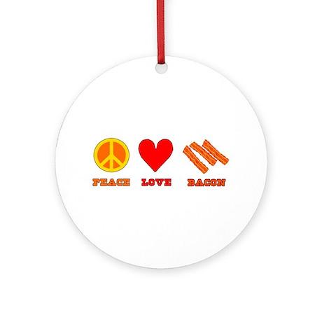 Peace Love Bacon Ornament (Round)