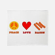 Peace Love Bacon Throw Blanket