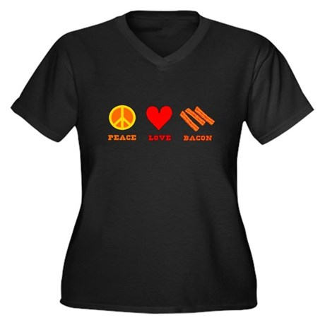Peace Love Bacon Women's Plus Size V-Neck Dark T-S