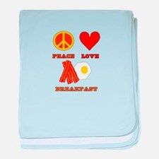 Peace Love Breakfast baby blanket