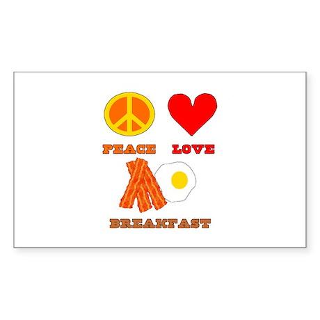 Peace Love Breakfast Sticker (Rectangle 10 pk)