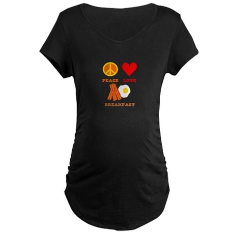 Peace Love Breakfast Maternity Dark T-Shirt