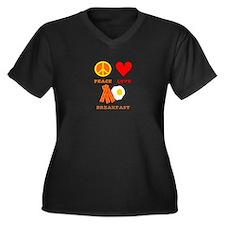 Peace Love Breakfast Women's Plus Size V-Neck Dark