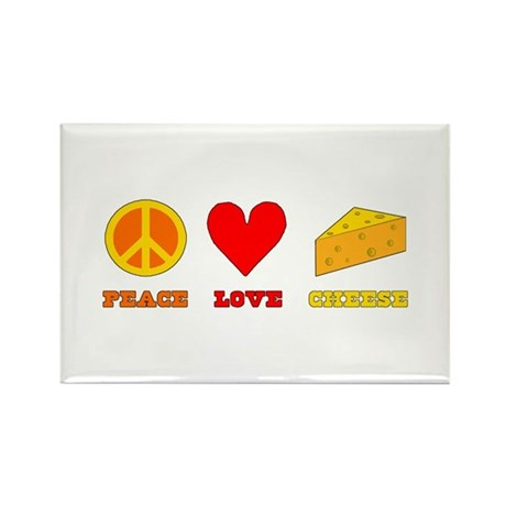 Peace Love Cheese Rectangle Magnet