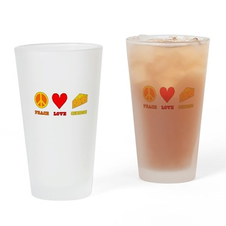 Peace Love Cheese Drinking Glass
