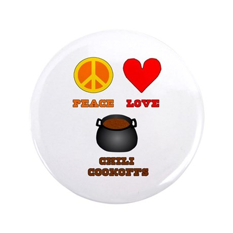 """Peace Love Chili Cookoff 3.5"""" Button (100 pack)"""