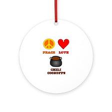 Peace Love Chili Cookoff Ornament (Round)