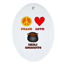 Peace Love Chili Cookoff Ornament (Oval)