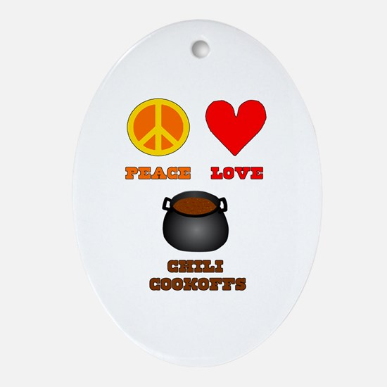 Peace Love Chili Cookoff Ornament (Oval)