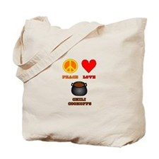 Peace Love Chili Cookoff Tote Bag