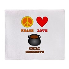 Peace Love Chili Cookoff Throw Blanket