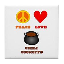 Peace Love Chili Cookoff Tile Coaster