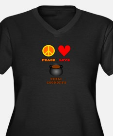 Peace Love Chili Cookoff Women's Plus Size V-Neck