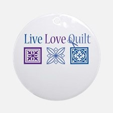 Live Love Quilt Ornament (Round)