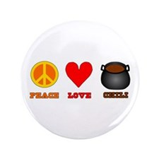 """Peace Love Chili 3.5"""" Button (100 pack)"""