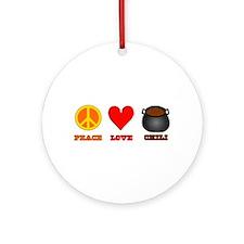 Peace Love Chili Ornament (Round)