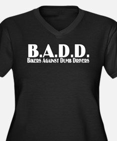 B.A.D.D. Women's Plus Size V-Neck Dark T-Shirt