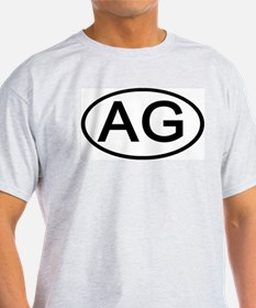 AG - Initial Oval Ash Grey T-Shirt