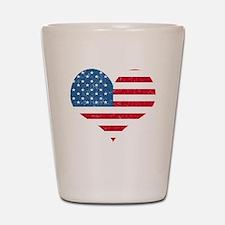 American Flag Heart Shot Glass