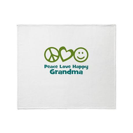 Peace Love Happy Grandma Throw Blanket