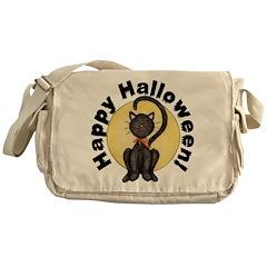 Black Cat Full Moon Messenger Bag
